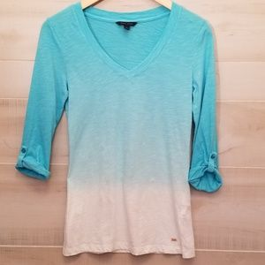 {XS} Tommy Hilfiger Ombre Blouse Blue White